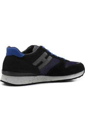 Комбинированные кроссовки на шнуровке Hogan темно-синие | Фото №4