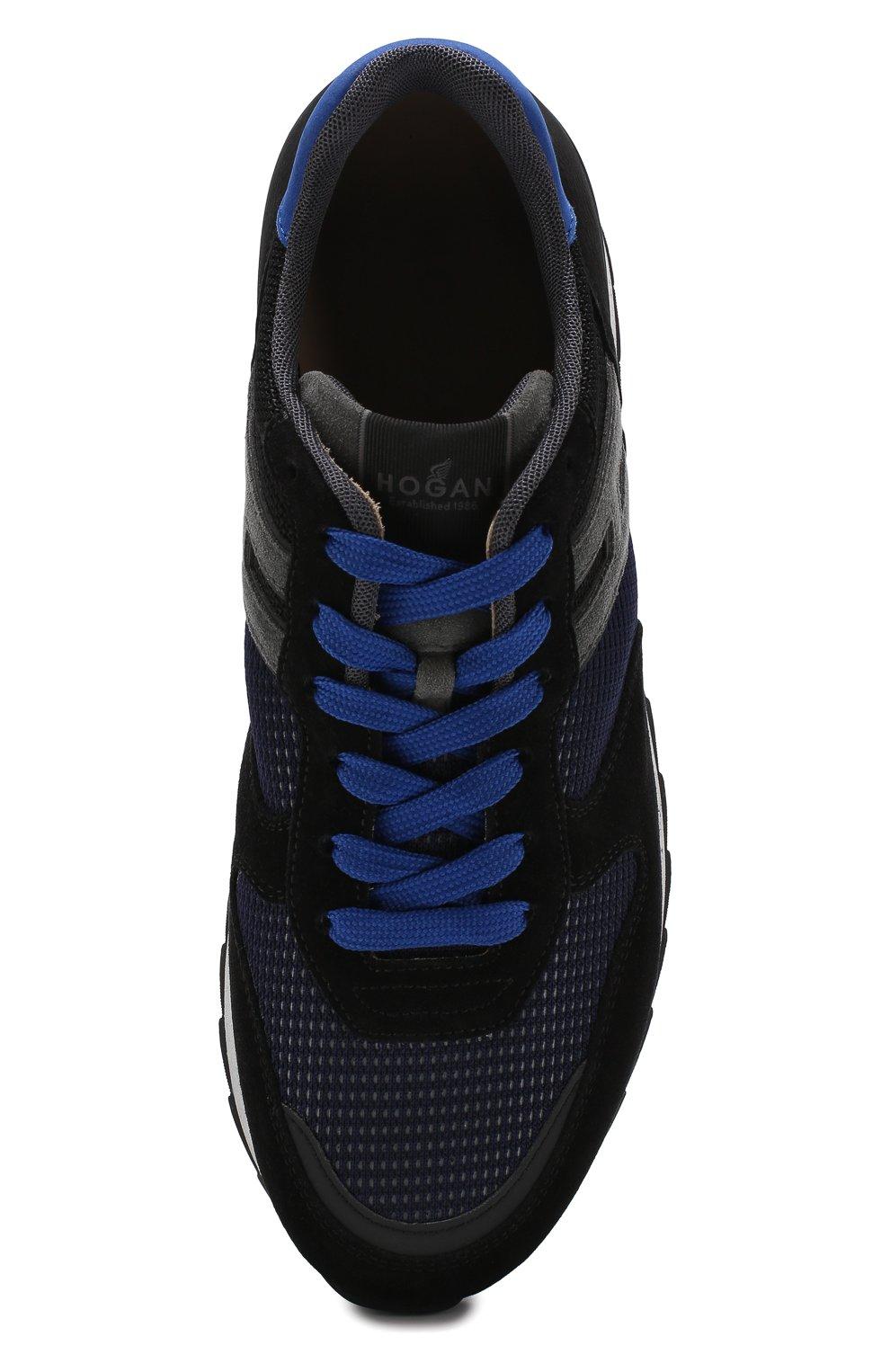 Комбинированные кроссовки на шнуровке Hogan темно-синие | Фото №5