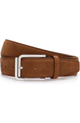 Мужской кожаный ремень KITON светло-коричневого цвета, арт. USCSQUN00019 | Фото 1