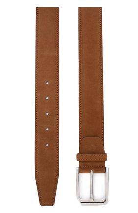 Мужской кожаный ремень KITON светло-коричневого цвета, арт. USCSQUN00019 | Фото 2