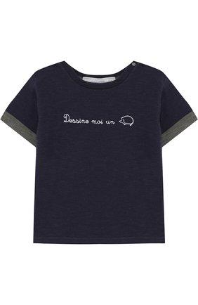 Детский хлопковая футболка с вышивкой TARTINE ET CHOCOLAT темно-синего цвета, арт. TL10041/2A-3A   Фото 1