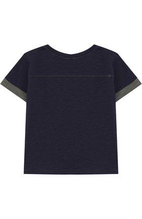 Детский хлопковая футболка с вышивкой TARTINE ET CHOCOLAT темно-синего цвета, арт. TL10041/2A-3A   Фото 2