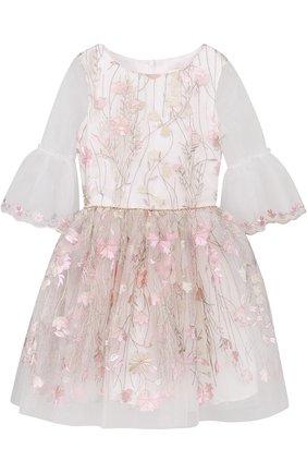 Платье-миди с декоративной вышивкой и расклешенными рукавами | Фото №1