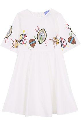 Хлопковое платье свободного кроя с принтом | Фото №1
