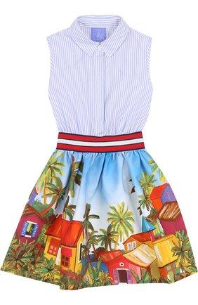 Хлопковое платье с широким поясом и ярким принтом | Фото №1