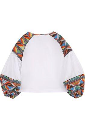 Детская блуза с контрастной вышивкой Stella Jean Kids белого цвета | Фото №1