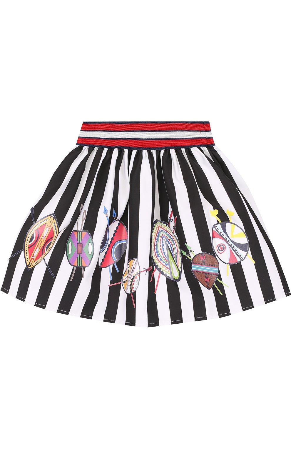 Хлопковая юбка с принтом и широким поясом   Фото №1