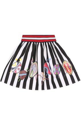Хлопковая юбка с принтом и широким поясом   Фото №2