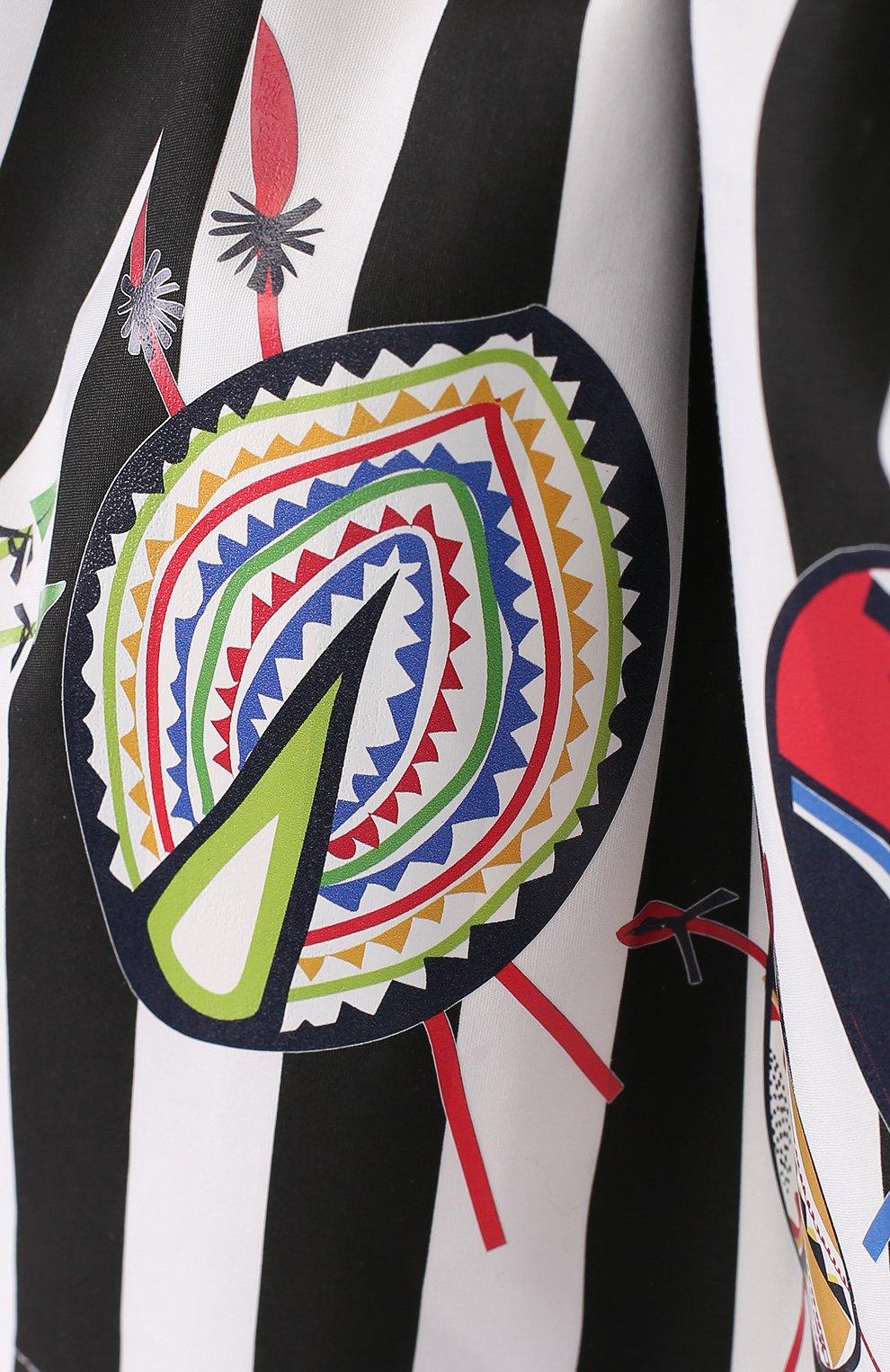 Хлопковая юбка с принтом и широким поясом   Фото №3