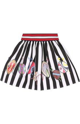 Хлопковая юбка с принтом и широким поясом | Фото №1