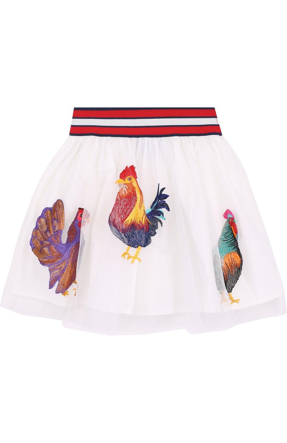 Многослойная юбка из хлопка с вышивкой и широким поясом | Фото №2