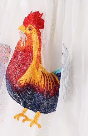 Многослойная юбка из хлопка с вышивкой и широким поясом | Фото №3