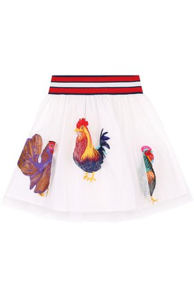 Многослойная юбка из хлопка с вышивкой и широким поясом | Фото №1