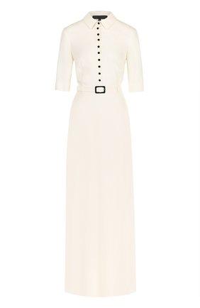 Шелковое платье-рубашка с коротким рукавом | Фото №1