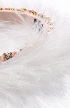 Ободок со стразами и фактурной отделкой David Charles розового цвета | Фото №1
