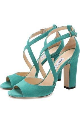 Замшевые босоножки Carrie 100 на устойчивом каблуке | Фото №1