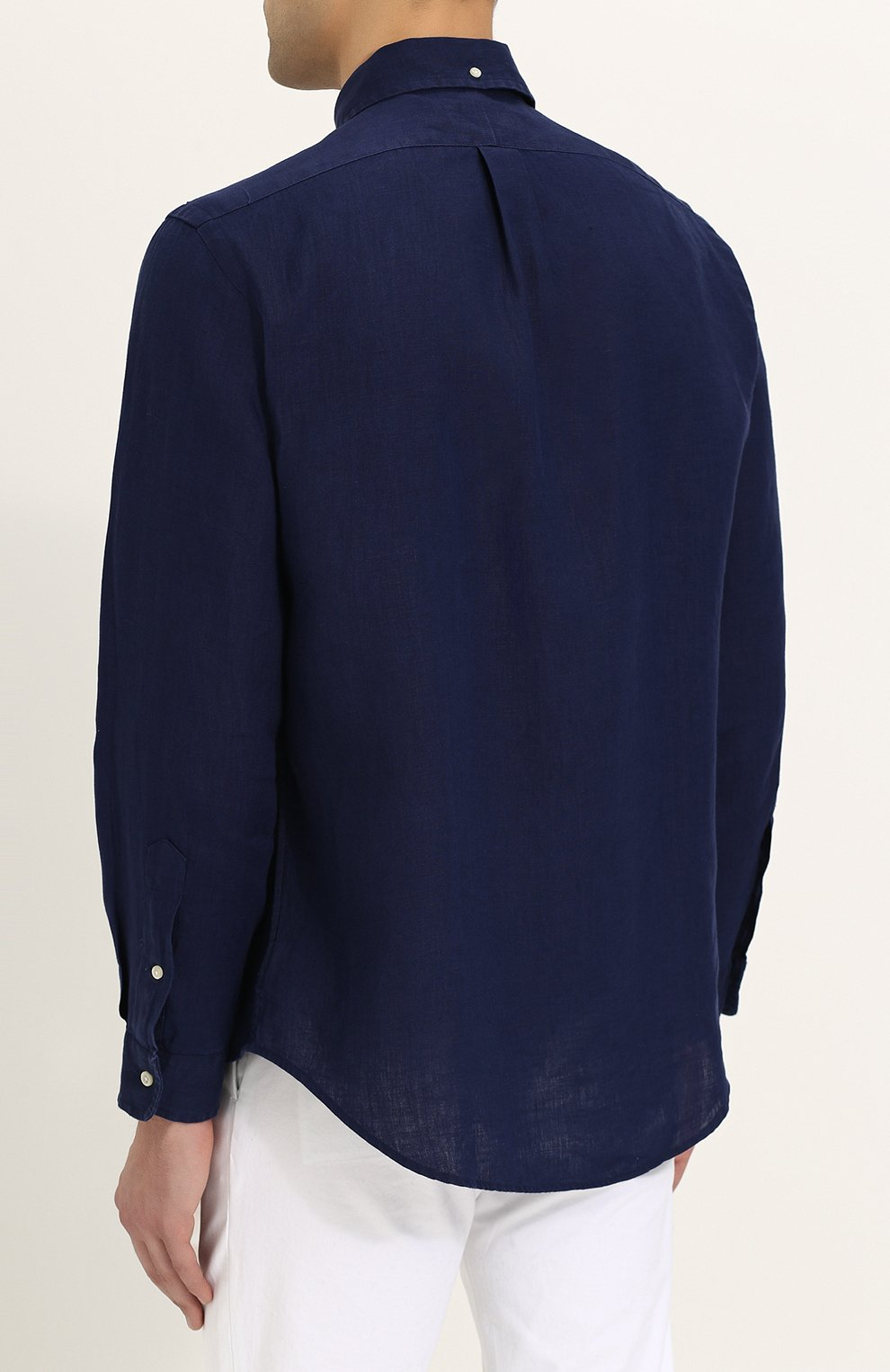 d2271f320ce Льняная рубашка с воротником button down Polo Ralph Lauren темно-синяя