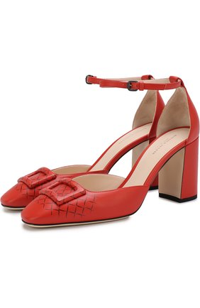 Кожаные туфли на устойчивом каблуке | Фото №1