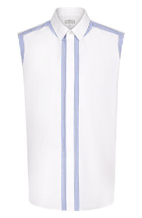 Хлопковый топ свободного кроя без рукавов Maison Margiela белый | Фото №1