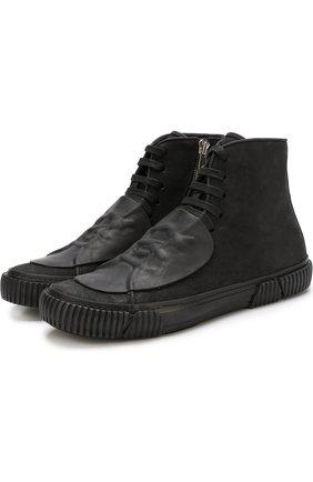 Высокие кожаные кеды на шнуровке с молнией Both черные | Фото №1