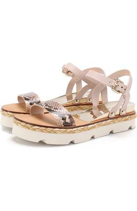 Кожаные сандалии с джутовым рантом | Фото №1