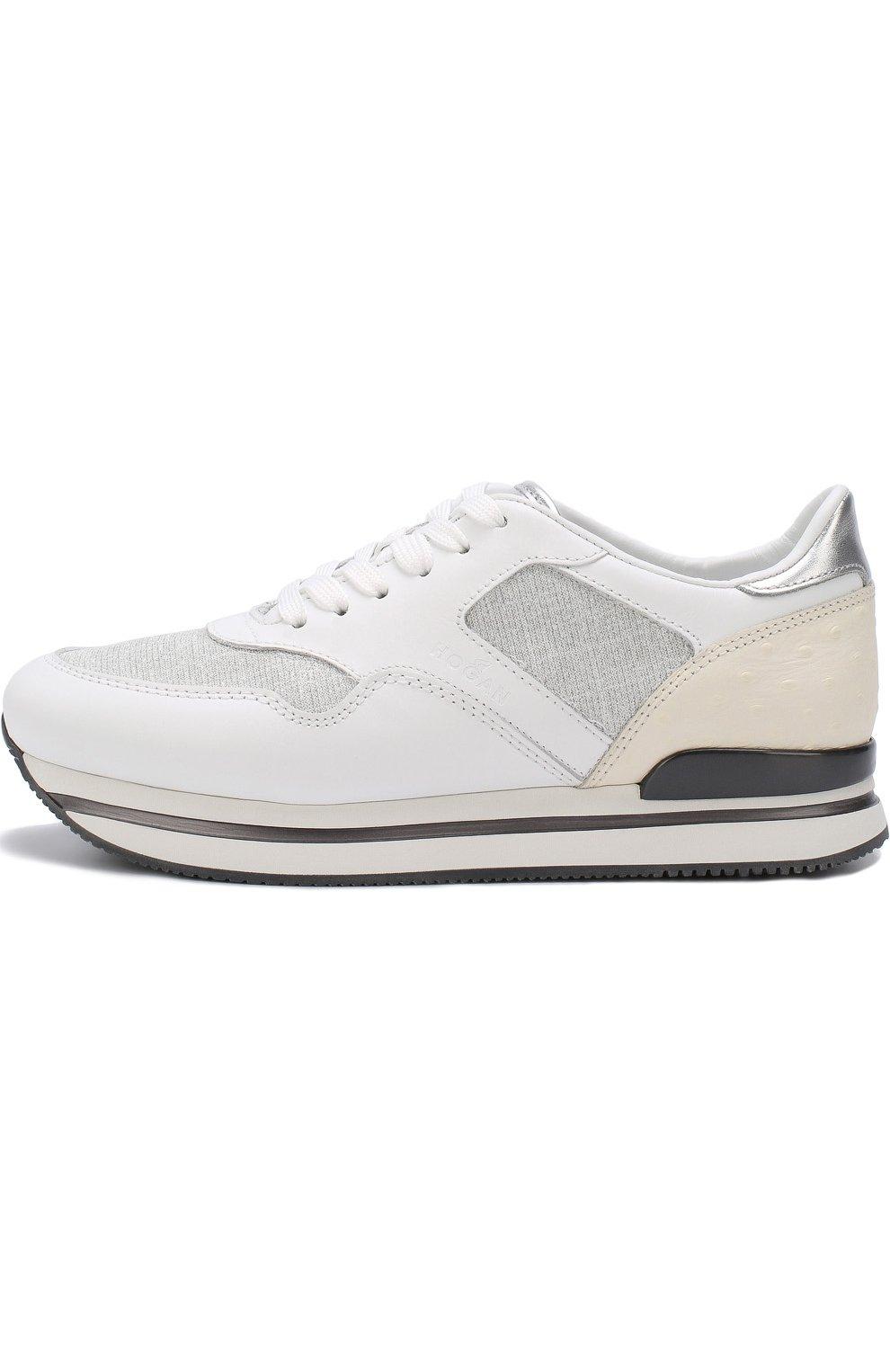 Комбинированные кроссовки на шнуровке Hogan белые | Фото №3