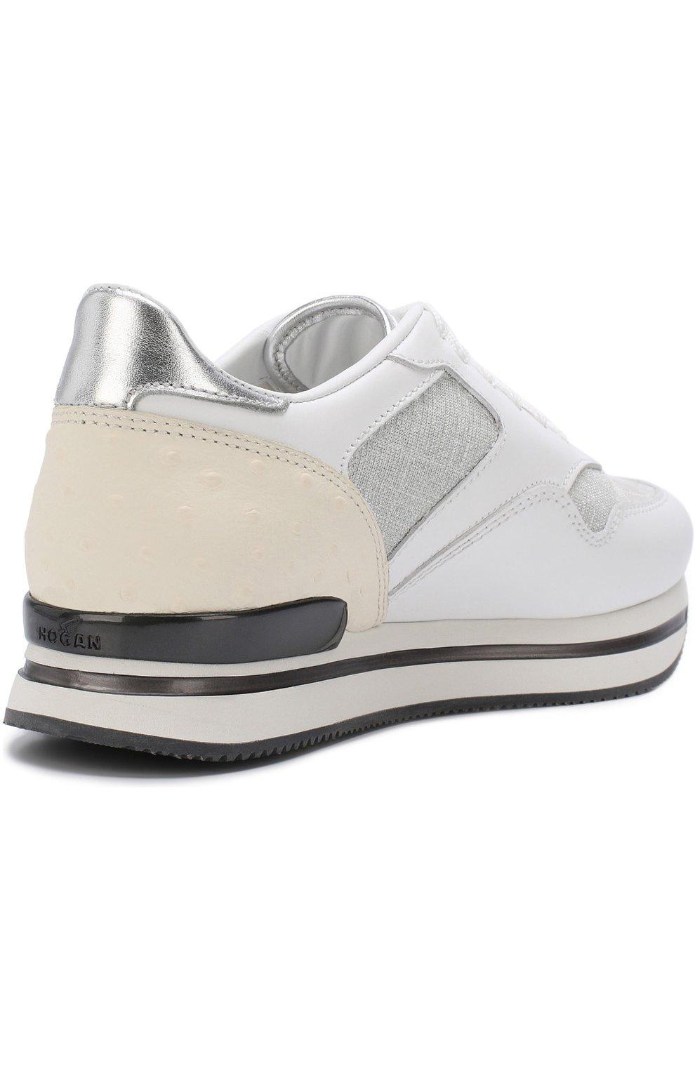 Комбинированные кроссовки на шнуровке Hogan белые | Фото №4