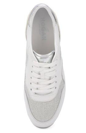 Комбинированные кроссовки на шнуровке Hogan белые | Фото №5