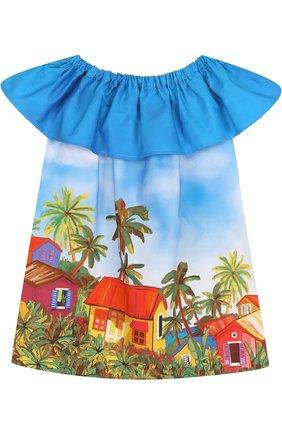 Хлопковое мини-платье А-силуэта с принтом и открытыми плечами | Фото №1