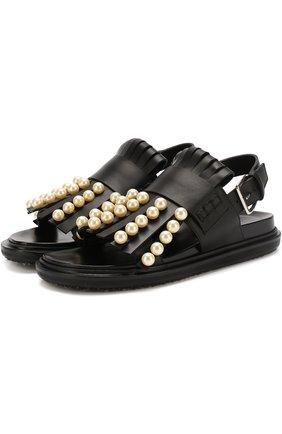 Кожаные сандалии Fussbett с бахромой и жемчужинами | Фото №1