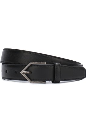Кожаный ремень с металлической пряжкой Saint Laurent черный   Фото №1