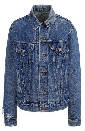 Джинсовая куртка с потертостями и декорированной спинкой R13 голубая   Фото №1