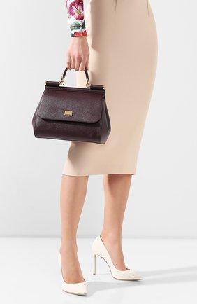 Женская сумка sicily medium DOLCE & GABBANA бордового цвета, арт. BB6002/A1001 | Фото 2 (Материал: Натуральная кожа; Сумки-технические: Сумки через плечо, Сумки top-handle; Ремень/цепочка: На ремешке; Размер: medium; Статус проверки: Проверена категория)