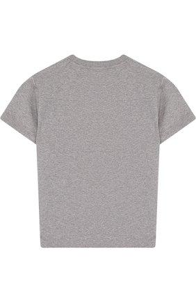 Детская хлопковая футболка с вышивкой Marcelo Burlon Kids of Milan серого цвета | Фото №1