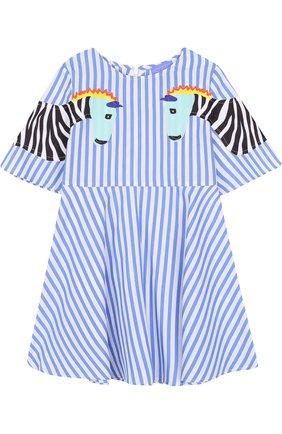 Хлопковое платье в полоску с аппликациями | Фото №1