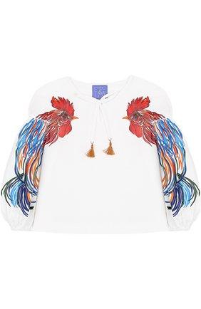 Хлопковая блуза свободного кроя с принтом | Фото №1