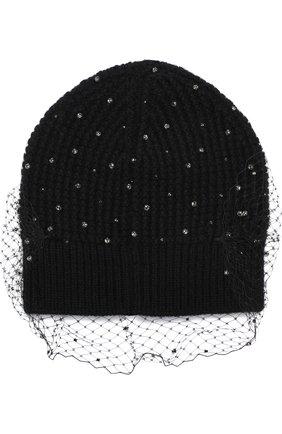 Шерстяная шапка с отделкой из страз и сеточкой Jennifer Behr черного цвета   Фото №1