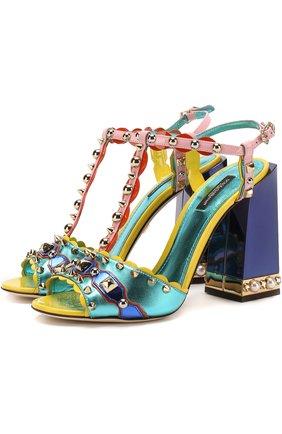 Кожаные босоножки Keira с декором на массивном каблуке | Фото №1