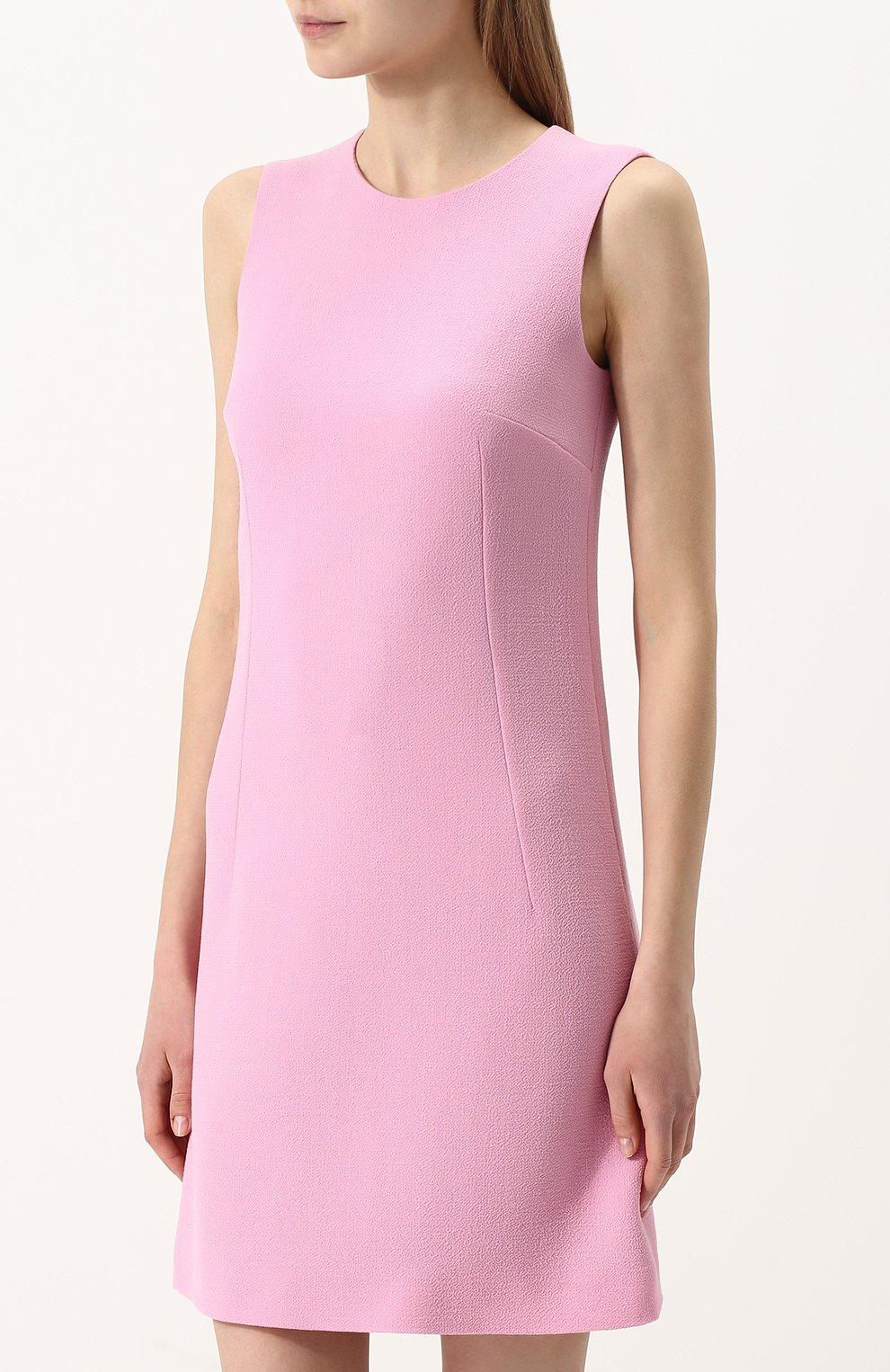 Приталенное однотонное мини-платье без рукавов   Фото №3