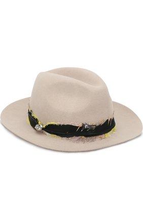 Шерстяная шляпа с отделкой пером Zadig&Voltaire бежевого цвета | Фото №1