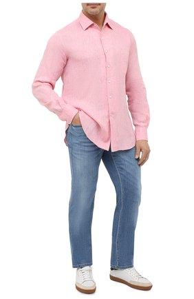 Мужская льняная рубашка LORO PIANA розового цвета, арт. FAF2545 | Фото 2