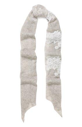 Кашемировый шарф тонкой вязки с кружевной отделкой | Фото №1