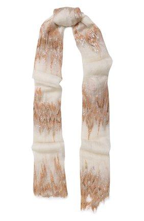 Кашемировый шарф тонкой вязки с отделкой из пайеток | Фото №1