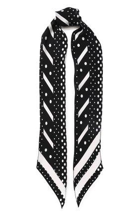Шелковый шарф-бандо с принтом Rockins черный | Фото №1