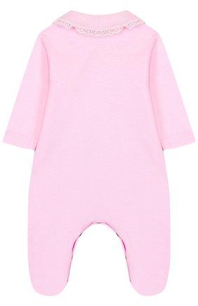 Детский хлопковый комбинезон с кружевной отделкой и бантами ALETTA розового цвета, арт. RB88371/1M-18M | Фото 2