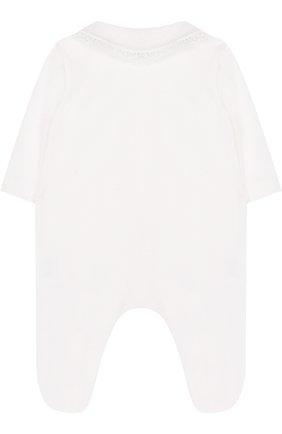 Детский хлопковый комбинезон с кружевной отделкой и бантами ALETTA бежевого цвета, арт. RB88371/1M-18M | Фото 2