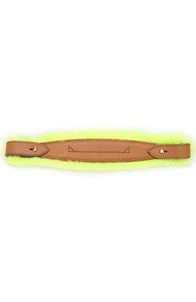 Ручка для сумки с отделкой из меха норки Anya Hindmarch желтого цвета | Фото №1