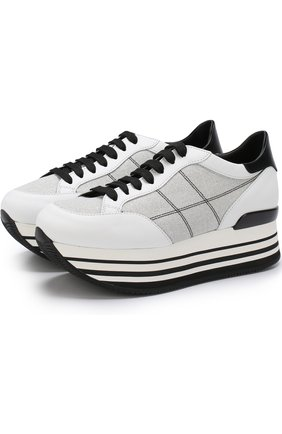 Комбинированные кроссовки на платформе Hogan черно-белые | Фото №1