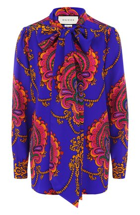Шелковая блуза с воротником аскот и принтом | Фото №1