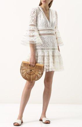 Приталенное кружевное мини-платье Zimmermann кремовое   Фото №1